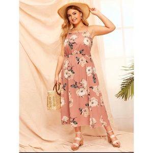 (5/$35) SHEIN Pink Floral Cami Dress Size 1X